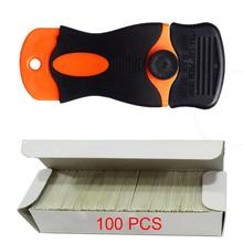 100pcs Multi Glue Razor Scraper Carbon Steel Blades Auto Car Film Old Sticker Remover Squeegee Glass Vinyl Cleaning Tool E12+E13