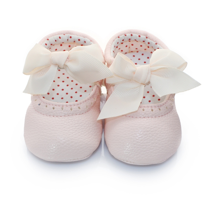 Infant Kids Baby Shoes PU Leather Bowknot Girls Princess Toddler Slip on Prewalkers