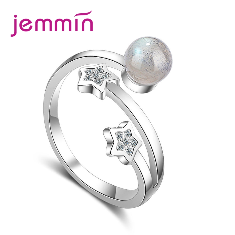 JEMMIN Cubic Zirconia 925 Sterling Sliver Classic Romantic Star Crystal Geometry Open Ring Female Fashion Party Birthday GiftJEMMIN Cubic Zirconia 925 Sterling Sliver Classic Romantic Star Crystal Geometry Open Ring Female Fashion Party Birthday Gift