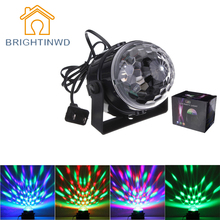Mini Popular RGB LED Crystal Magic Ball Stage Effect Lighting Lamp Party Disco Light 100-240V EU US Plug Soundlights Spotlight