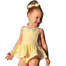 Baby Girls Floral Halter Belt Romper Dress Jumpsuit Playsuit Outfit Clothes With Butterfly-knot headband Children Seaside Suit