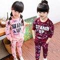 Anlencool Nova Primavera 2017 meninas Coreanas vestir terno de algodão camisola da senhora de duas peças flor das crianças do bebê meninas definir crianças roupas