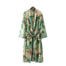 Старинные этнические Цветочный принт Пояса кимоно рубашка женская 2017, Новая Мода Кардиган Повседневная Блузка Топы blusas Сорочка Роковой Blusa
