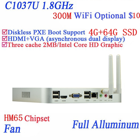 Real Power Faction Mini Pc Windows 7 Or Linux With Celeron C1037U 1.8Ghz With RJ45 USB*4 4G RAM 64G SSD Full Alluminum