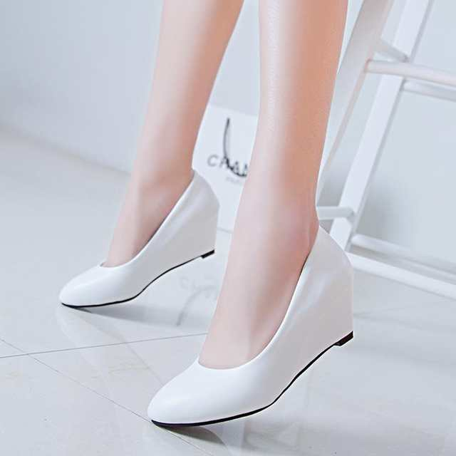 placeholder Spring Autumn Office Lady Shoes Women Wedges Pumps High Heels  White Wedding Shoes Woman Boat Shoes 3378078ed3d6