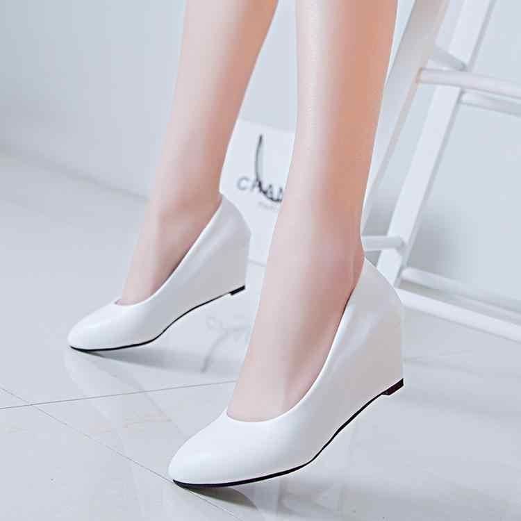 4e8c55e8cf Spring Autumn Office Lady Shoes Women Wedges Pumps High Heels White Wedding  Shoes Woman Boat Shoes Ladies Basic Pump 2818