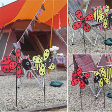 Windmill Red Ladybug and Yellow Bee Design Children Garden Decoration Fun For Kids