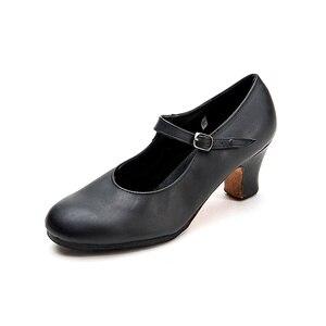 Image 2 - سانشا المهنية الفلامنكو الطابع الرقص الأحذية 6 سنتيمتر الأوسط عالية الكعب للنساء السيدات أسود أحذية رقص FL1CL FL1LS