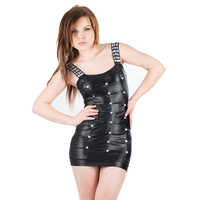 New Fashion Woman Black Red Vinyl Leather Wet Look Mini Dress Romantic Rhinestones Sleeveless Sexy Short Clubwear W203069