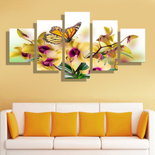 5 Pcs/Set Modern Home Furnishing Living Room Canvas Printing definition  Poster picture Canvas Printing Art Wall FLOWER butterfly