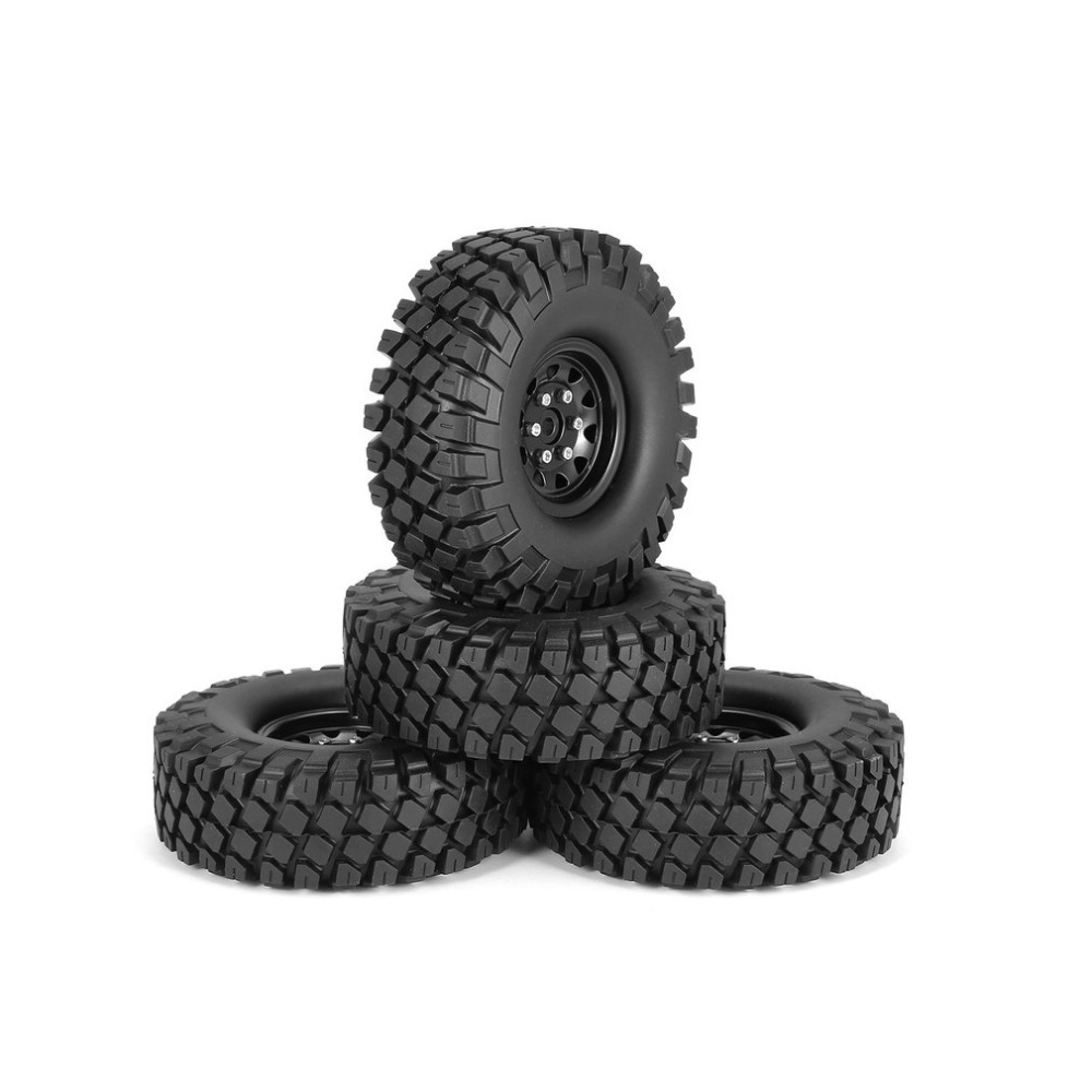 4Pcs 1.9 Inch 115mm Rubber Tires Tire with Metal Wheel Rim Set for 1/10 Traxxas TRX-4 SCX10 RC4 D90 RC Crawler Car Part 4pcs 1 9 rubber tires