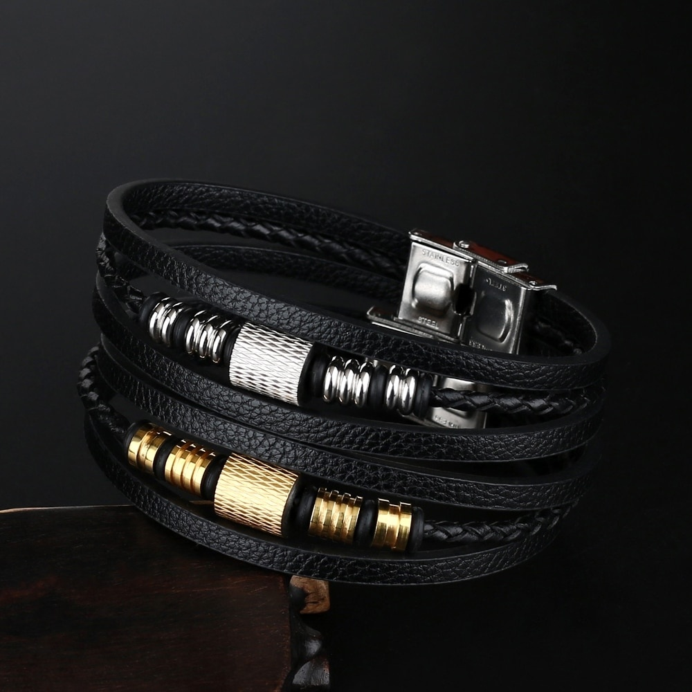 2019 Fashion Jewelry Men Genuine Leather Bracelets Charm Men Stainless Steel Buckle Leather Bracelets&Bangles for Women pulseras