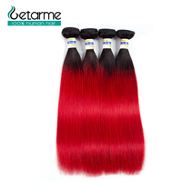 Per colored Brazilian Straight Hair 4 Bundles 1b/red Human Hair Extensions Pre Plucked Ombre Non remy Hair Weave Bundle Deals