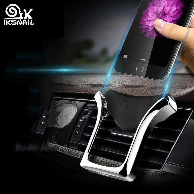 IKSNAIL u-тип гравитационный Автомобильный gps Стенд держатель телефона автоматический несущей индукционный навигационный кронштейн вентиляци...