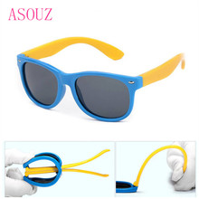 ФОТО asouz 2018 new round children's silicone polarized sunglasses cat eyes rice nail uv400 boys and girls flexible square glasses