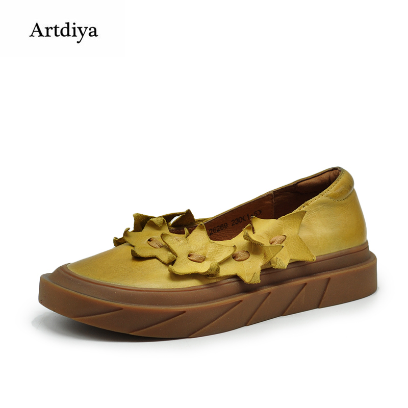Artdiya Original Vintage Shallow Mouth Women Shoes Female Stars Round Toe Flat Shoes Genuine Leather Handmade Shoes 26269 e hot sale wholesale 2015 new women fashion leopard flat shallow mouth shoes lady round toe shoes