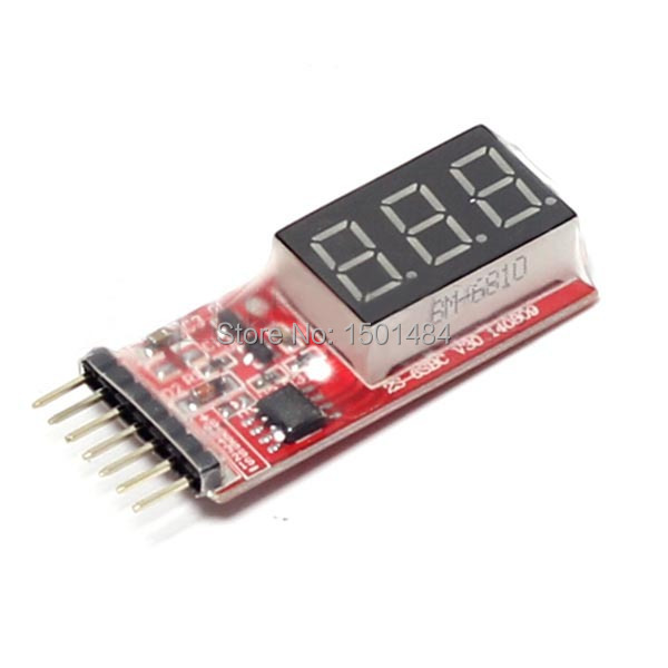 Lipo Battery Voltage Monitor Meter 7.4V-22.2V 2S -6S Cells LED Display Test Tool