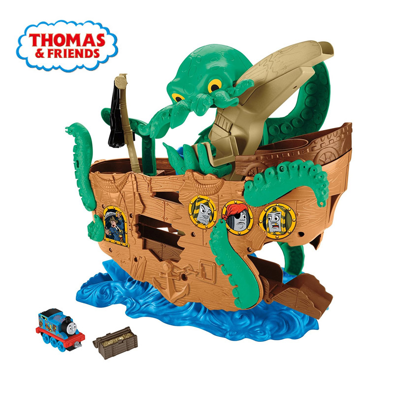 Original Thomas And Friends Alloy Expedition Series Sea Monster Snatch Treasure Suit Toys For Children Pirate Ship Boys Gift Toy