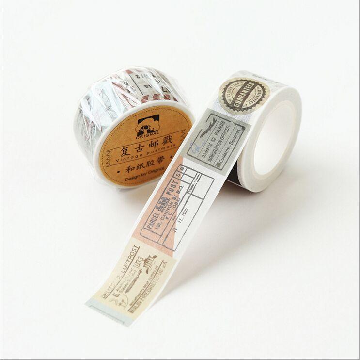 20mm wide Vintage Travelling style Retro Postmark decoration scotch washi tape DIY planner scrapbooking masking tape