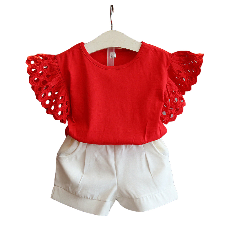 2 3 4 5 6 7 8 Year Girls Clothing Set 2018 New Summer Casual Kids Suits Short-Sleeved Shirts + Short 2pcs Baby Children Clothing