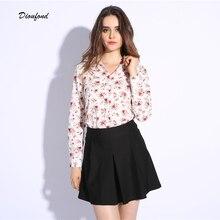 Dioufond turn down цветочный блузка воротник случайные новая футболки печати топы