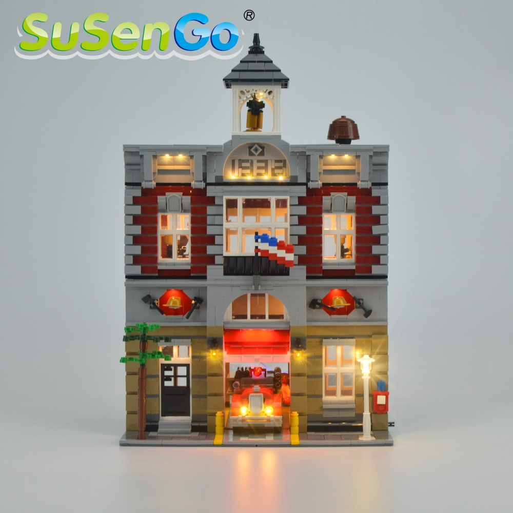SuSenGo LED Light Kit For Creator Fire Brigade Building Block Light Set Compatible With <font><b>10197</b></font> And 15004 (NOT Include The Model) image