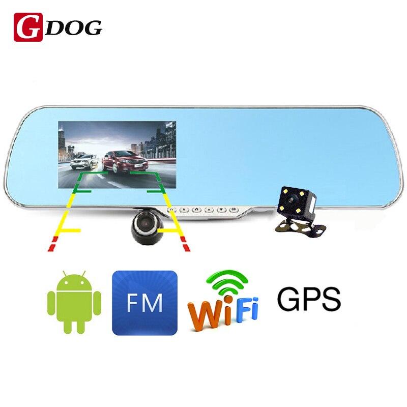 """imágenes para 5.0 """"FHD1080P cámara WiFi GPS táctil Android 4.4 ROM de Doble lente coche dvrs aparcamiento espejo Retrovisor Del Coche grabadora de vídeo DVR"""