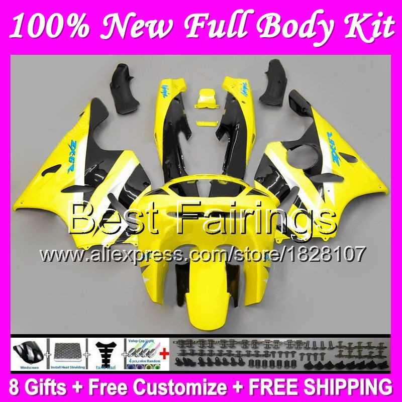 Fairing עבור KAWASAKI צהוב שחור NINJA ZX6R 94-97 94 95 96 97 B25 ZX636 ZX 6R 636 blk הצהוב ZX-6R 1994 1995 1996 1997 + מדבקות