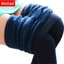 Mollad 2017 nowy Plus Kaszmir moda legginsy kobiety dziewczyny ciepły zima jasny aksamit dzianinowy gruby Legging super elastyczne spodnie tanie tanio Welur MA003 Połowie Standardowych Długość kostki Bawełna Stałe Casual MOLLAD z kobiety grube Legging czarny granatowy czerwony beżowy