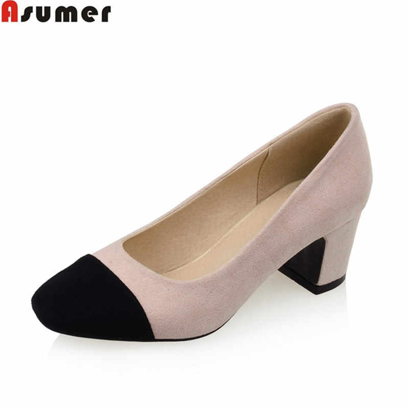 Asumer mujeres bombas tacones cuadrados tamaño grande 32-43 punta redonda  pu señora zapatos nubuck 0e7d41a40cd1