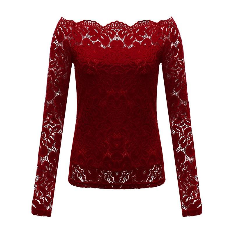 HTB1GGiPLpXXXXb9XFXXq6xXFXXXm - Autumn Sexy Women Blouses Off Shoulder Lace Crochet Shirts