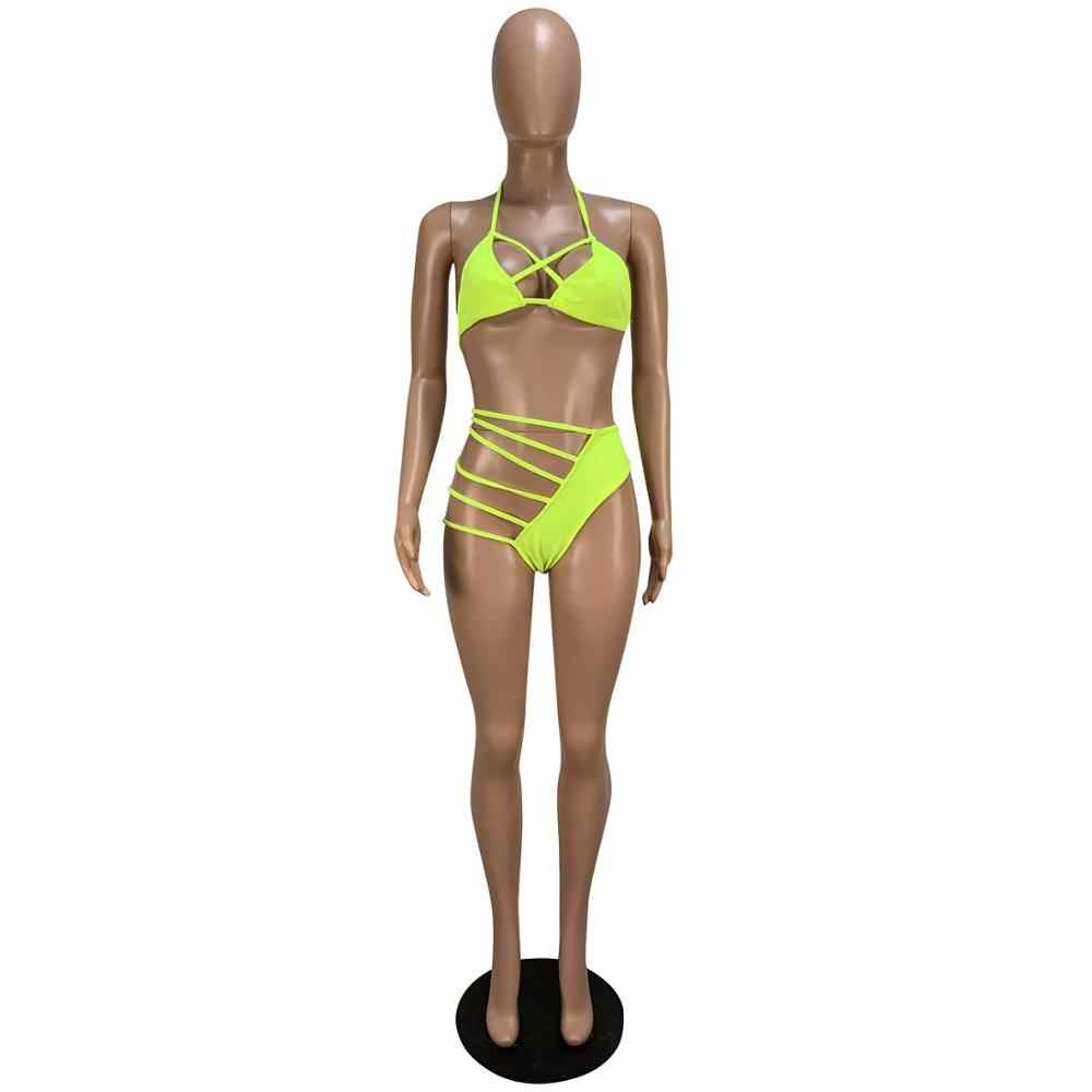 2019 נשים קיץ הלטר צוואר חזיית למעלה תחרה עד צד תחתוני חליפת שתי חתיכה להגדיר חוף סקסי מסיבת מועדון בגד גוף אימונית GLCY1147