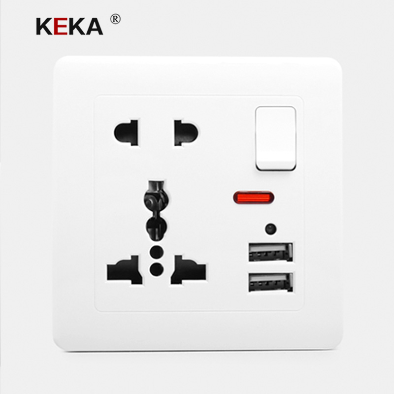KEKA Wall Socket Universal Power Outlet Switch Control Socket With Dual USB Smart Induction Charge Port For Mobile 5V 2.1A