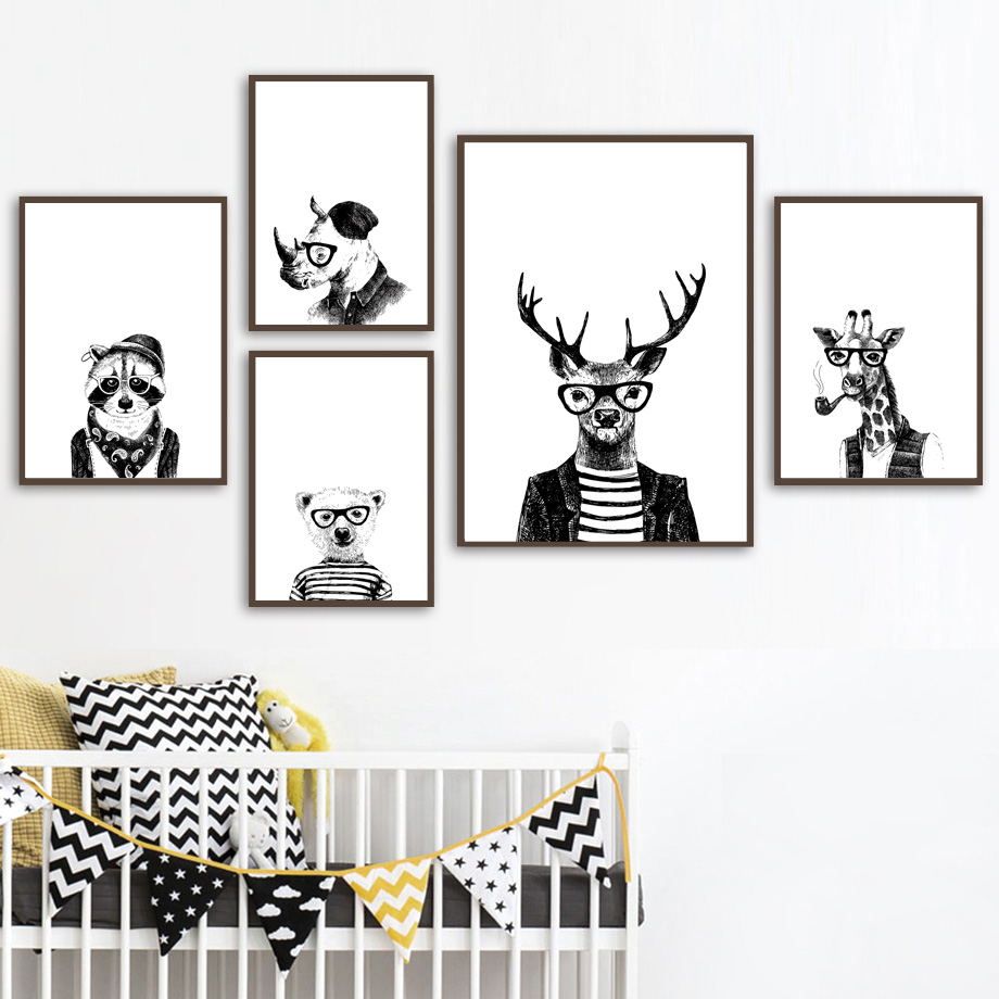 Deer Bear giraffe Raccoon Dog Black White Nordic Posters And Prints Wall Art Canvas Painting Pictures Baby Kids Room Decor