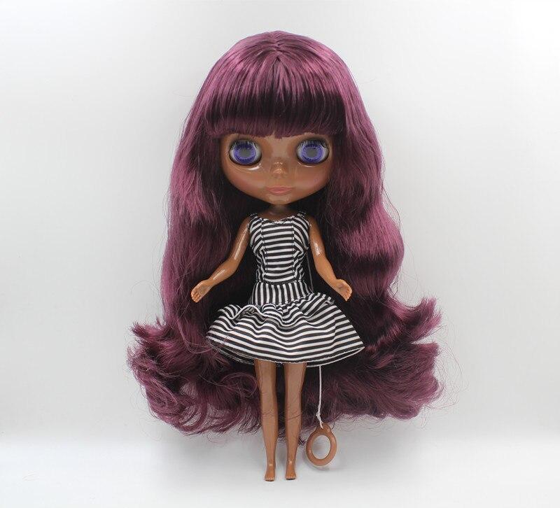 Блит кукла фиолетовый, Лю Хай вьющиеся волосы, темная кожа Обнаженная кукла, 1/6, 7 в сочетании тело, игрушка в подарок.