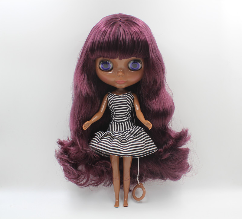 Blyth doll purple, liu hai curly hair, dark skin nude doll, 1/6,7 combined body, gift toy.