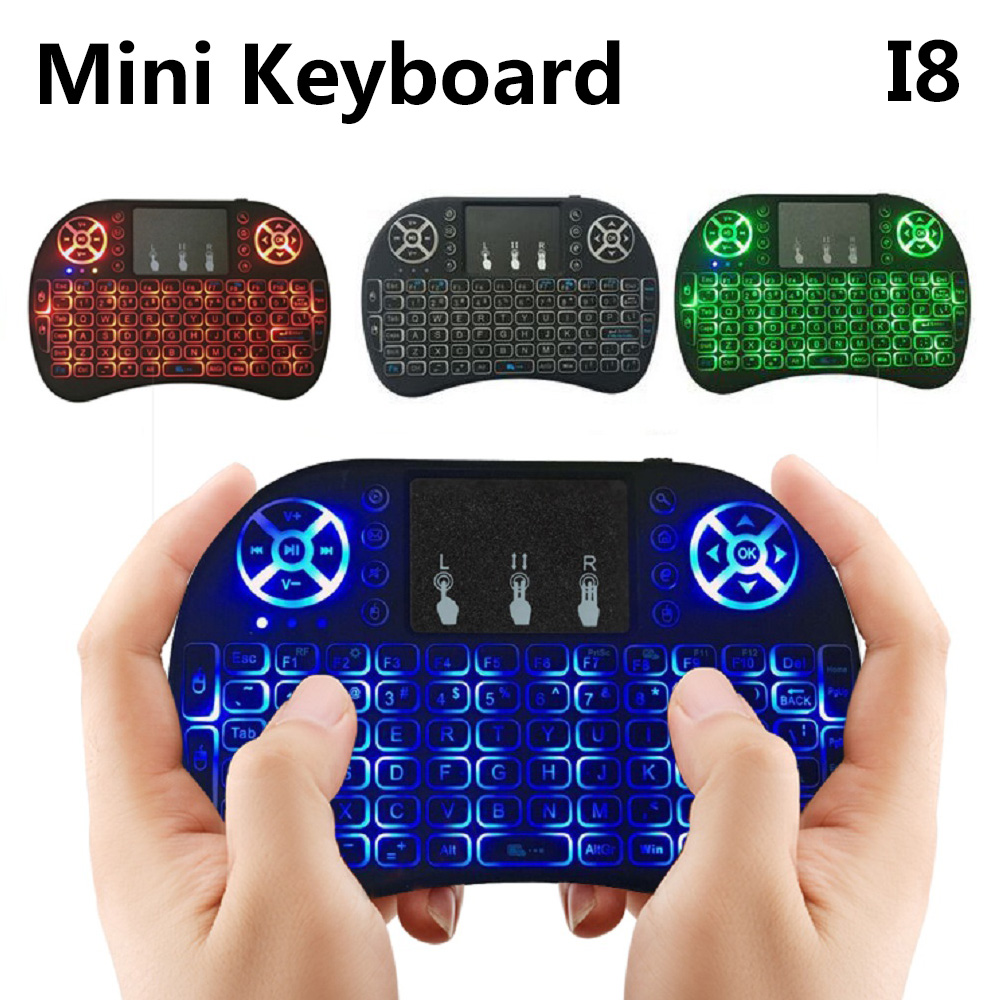 4Styles I8 Mini Wireless Keyboard 3 colour backlight 2.4GHz English Air Mouse Remote Control Touchpad For Android TV Box