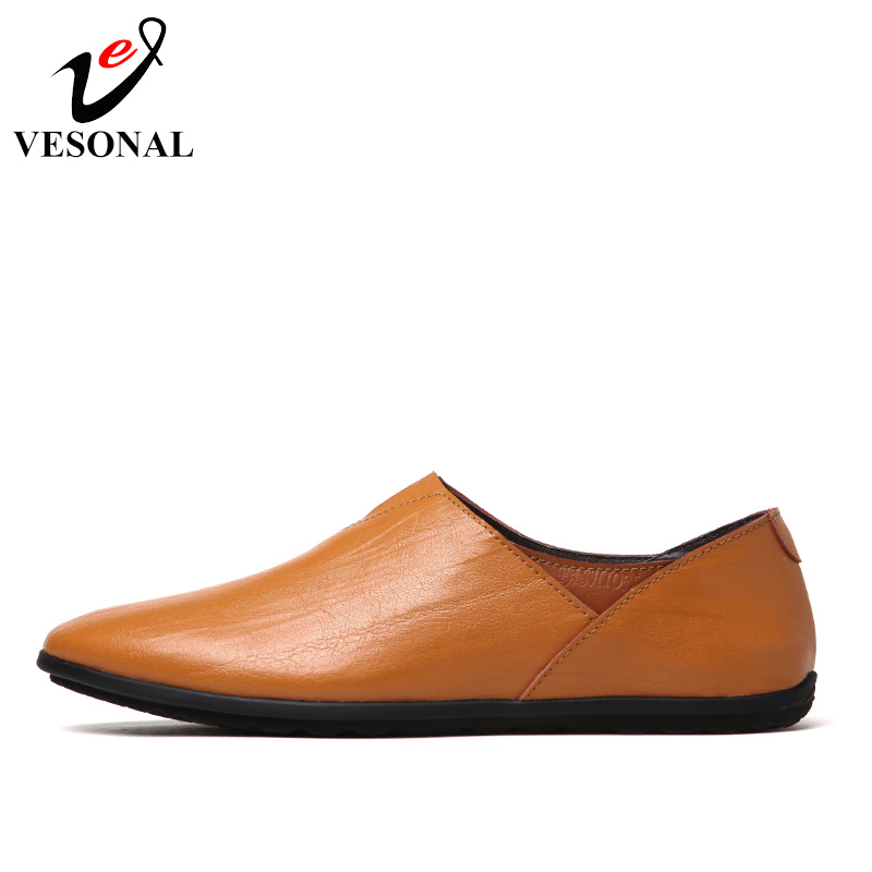 Scarpe uomo Vesonal Leather Slip 2018 marrone Summer Genuine scuro per uomo chiaro Nero Soft On marrone Casual Mocassini Driving Spring Flats wSSvPq