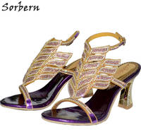 Sorbern 8CM Crystal Women Sandals Colorful Rhinestone Party Shoes Sexy Buckle Strap Sandalias Mujer 2018 New