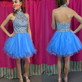 2016 Blue Homecoming Dresses Halter Organza with Beads Backless Above Knee A-line 8th Grade Graduation Gowns for Girls Plus Size
