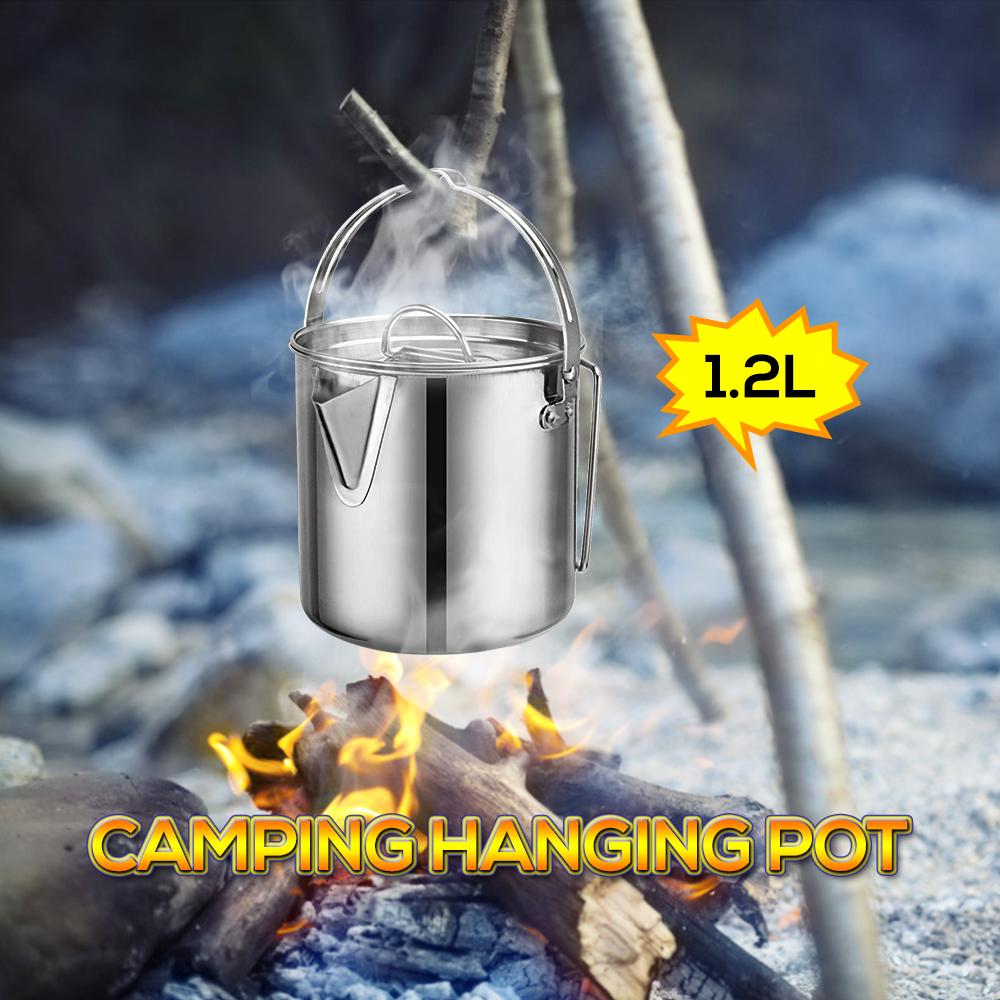 Portable Stainless Steel Outdoor Camping Hiking Fishing Campfire Hanging Pot