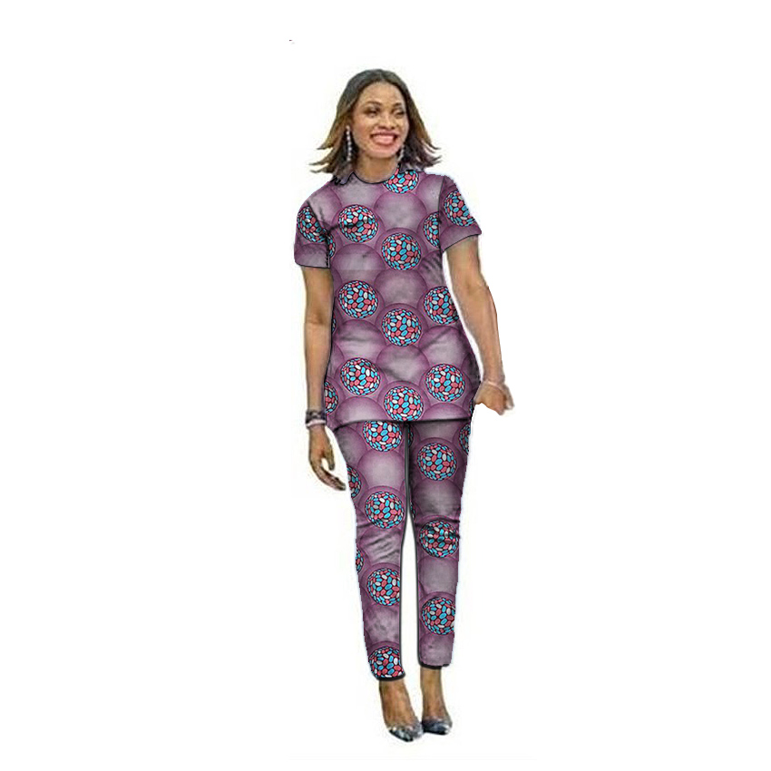 Trendy women tops with long pants sets Ankara Styles ladies dashiki print outfits African groom clothes tailor made