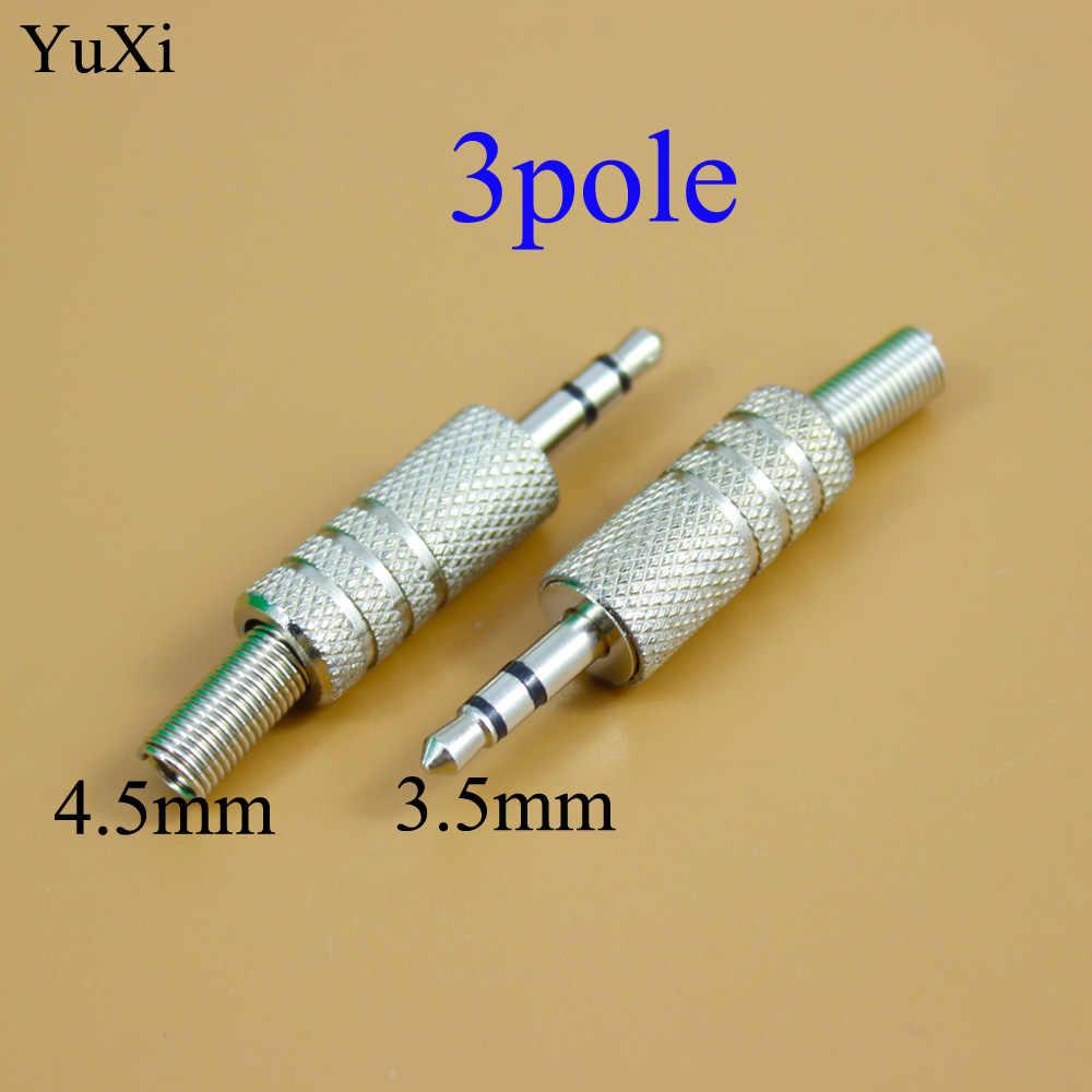 YuXi 3.5mm/2.5 Audio Jack pozłacane 3 polak 4 polak męski Adapter wtyczki słuchawek dla DIY słuchawki Stereo 3.5 2.5mm