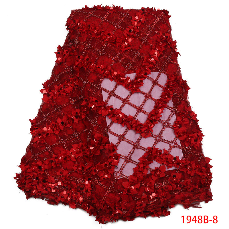 Red Sequin Lace African Lace Fabric 2018 High Quality Handmade Lace French Embroidered Lace Fabric For Wedding Dress XY1948B 8
