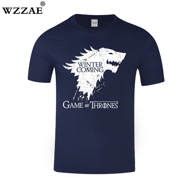 WZZAE Tshirt 2018 New Game of Thrones T Shirt Men Cool The North Remembers  Blood Wolf