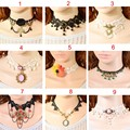 2015 High Quality Bijoux Black Flower Lace Choker Short Necklace Gothic Steampunk Jewelry