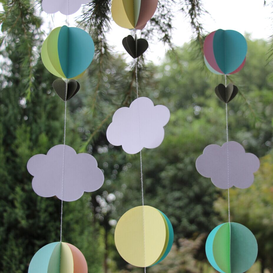 Pastel Clouds Hot Air Balloons Garland Baby Shower Photo Prop