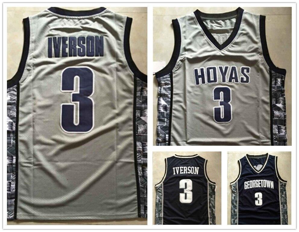release date: b732a 031b5 top quality #3 Allen Iverson Jersey NCAA Georgetown Hoyas ...