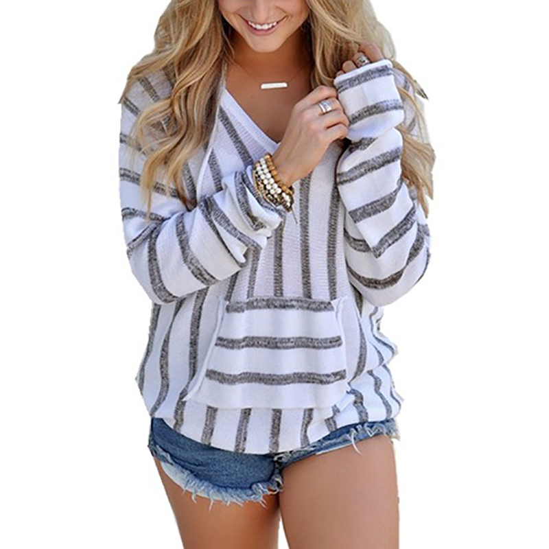 Winter Women T Shirt 2019 New Fashion Stripe Knitted Tee Shirt Femme Long Sleeve Hooded Pullover Ladies T-Shirts Tops Camisas
