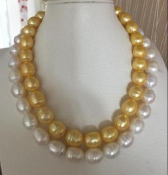 35inch 10-12mm south sea baroque white yellow Multicolor pearl necklace 17-18 !